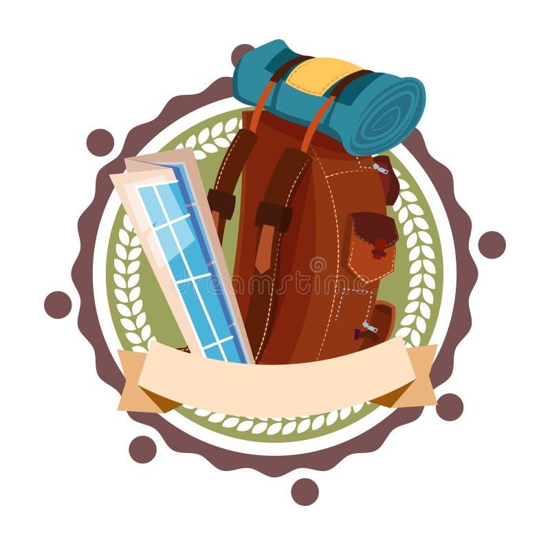 Ryggsäck för bagage för symbol för ryggsäck resande Retro stil isolerad turist- vektor illustrationer