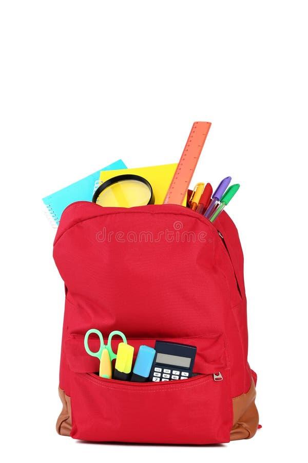 Ryggsäck med skolatillförsel royaltyfria foton