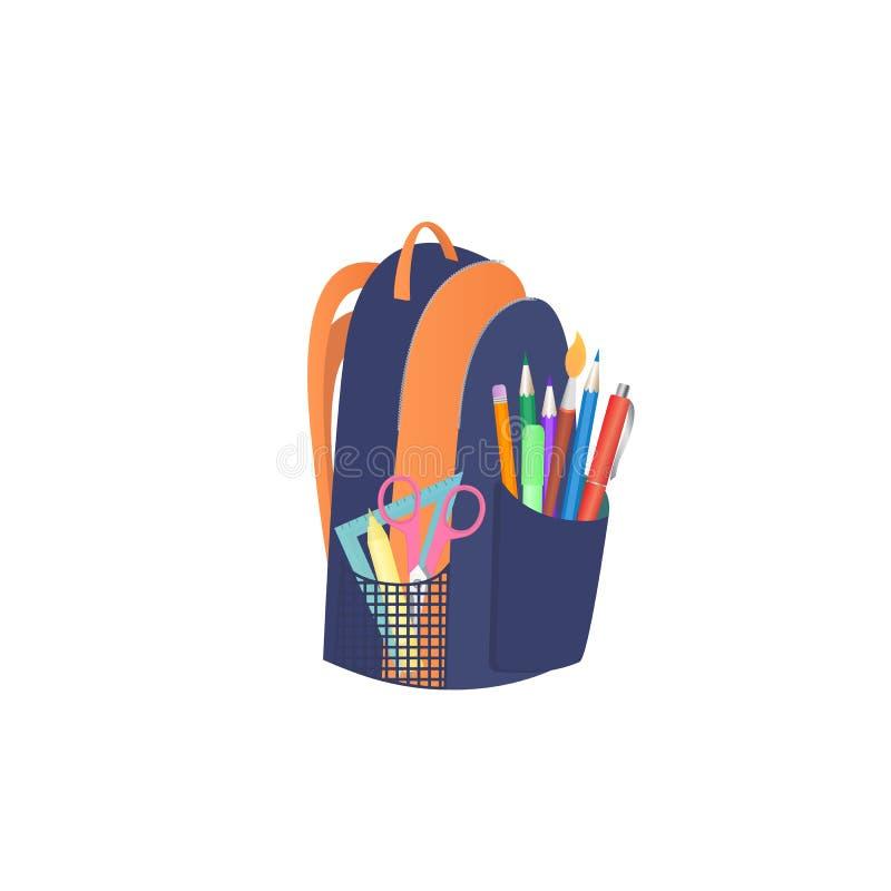 Ryggsäck med skolatillförsel tillbaka begreppsskola till vektor illustrationer