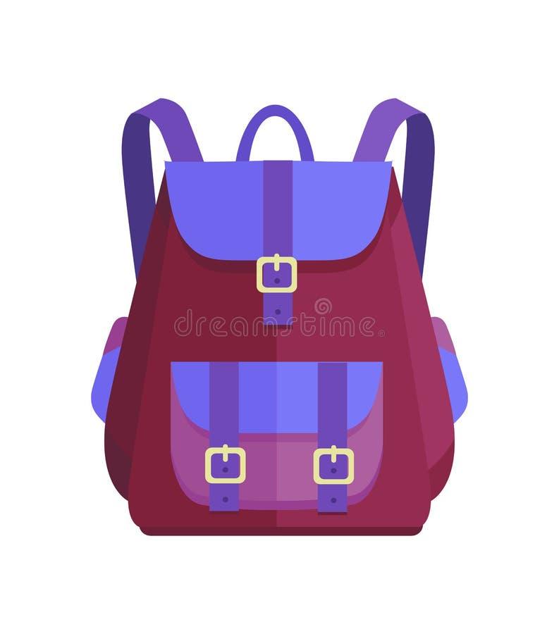 Ryggsäck som är unisex- i lila- och blåttfärgvektor vektor illustrationer