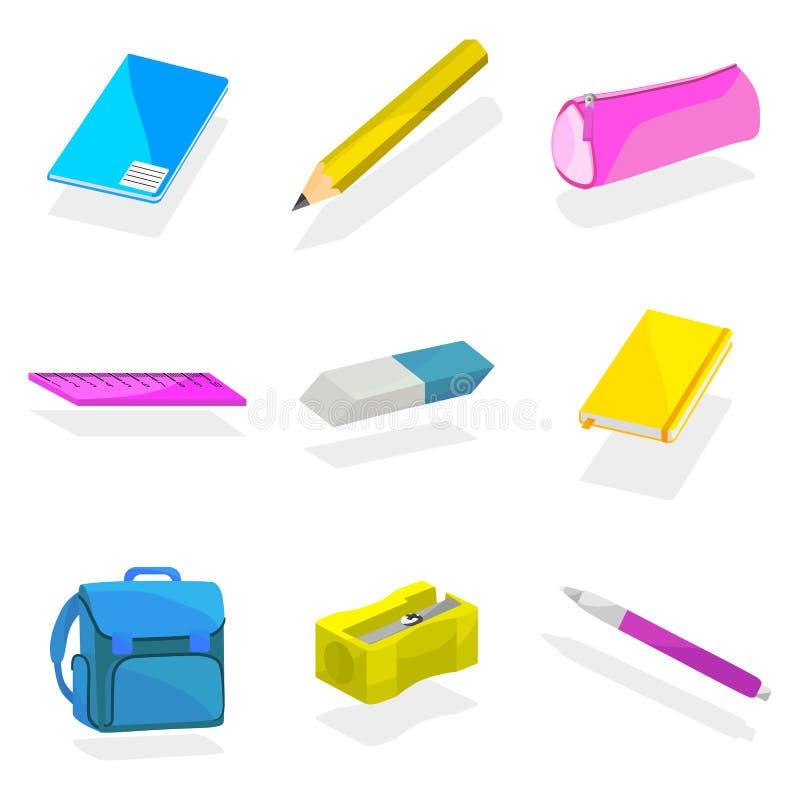 Ryggsäck som packas med skolaobjekt vektor illustrationer