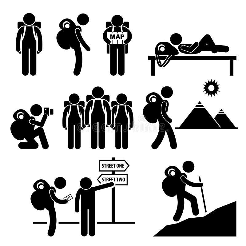 Ryggsäckhandelsresandeutforskare Stick Figure Pictogram  stock illustrationer