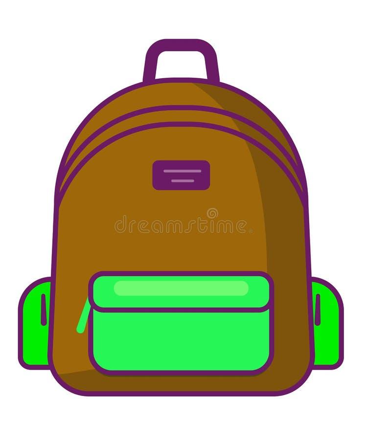 Ryggsäcksymbol - vektorskolasymbol - loppsymbol vektor illustrationer