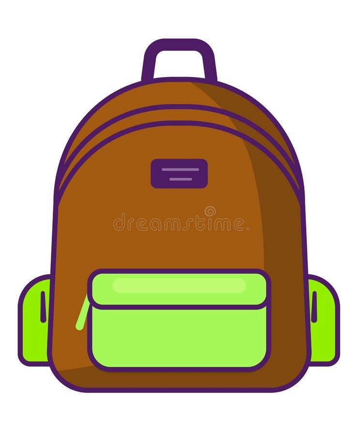 Ryggsäcksymbol - vektorskolasymbol - loppsymbol stock illustrationer