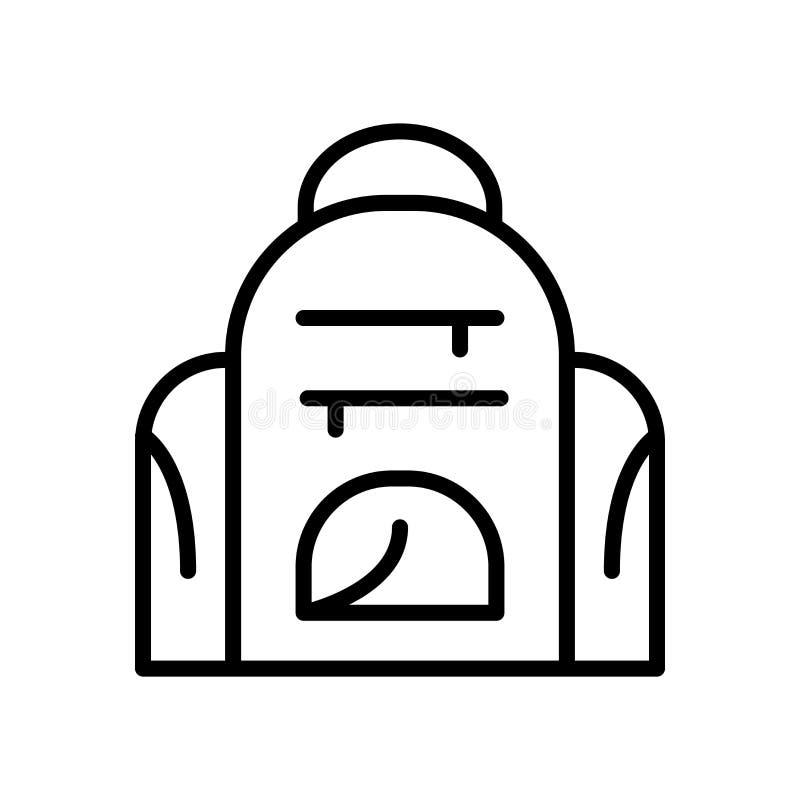 Ryggsäcksymbolsvektorn som isoleras på vit bakgrund, vandrar tecken-, linje- och översiktsbeståndsdelar i linjär stil royaltyfri illustrationer