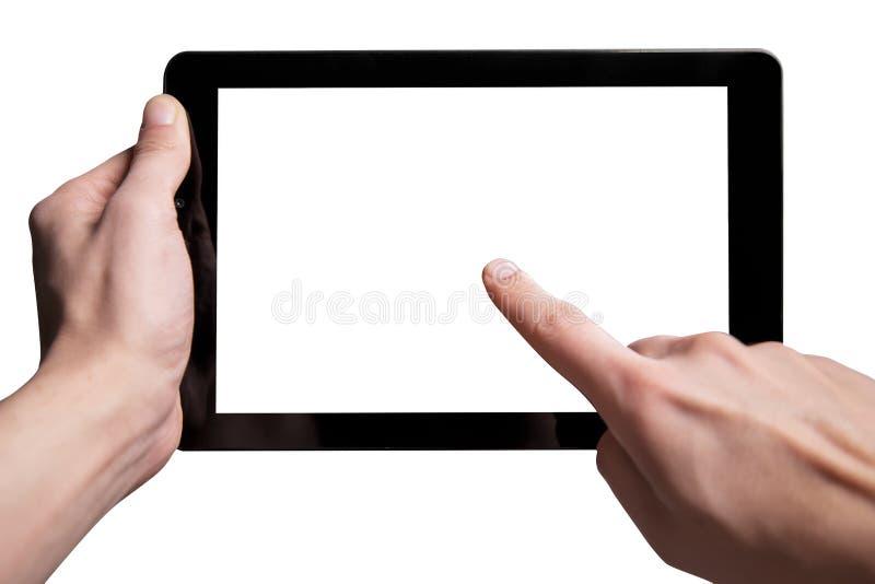 Rym den svarta minnestavlan på händer bakgrund isolerad white arkivbild