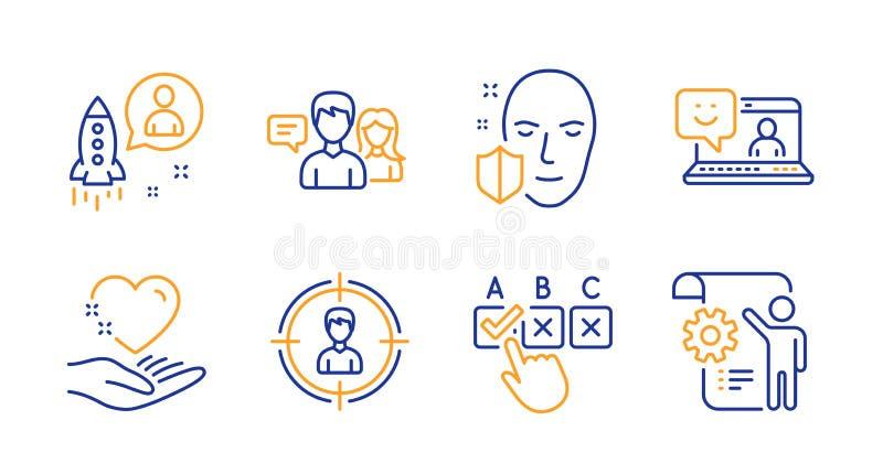 Rym för hjärta, den talande symbolsuppsättningen för leende och för folk Start-, framsidaskydd och korrekt checkboxtecken vektor royaltyfri illustrationer