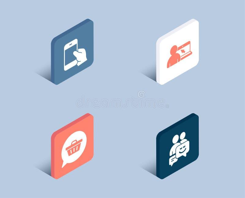 Rym smartphonen, shoppingvagnen och online-utbildningssymboler Kommunikationstecken stock illustrationer