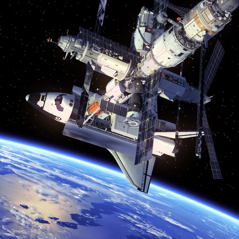 Rymdfärja och rymdstation. royaltyfri illustrationer