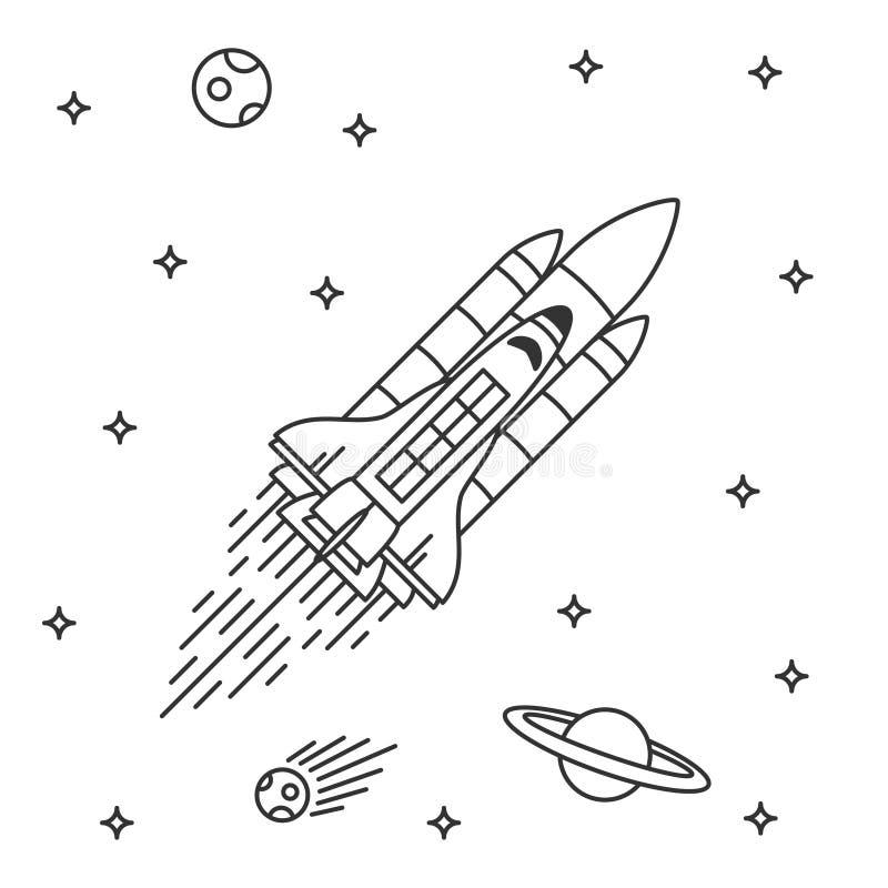 Rymdfärjaflyg royaltyfri illustrationer