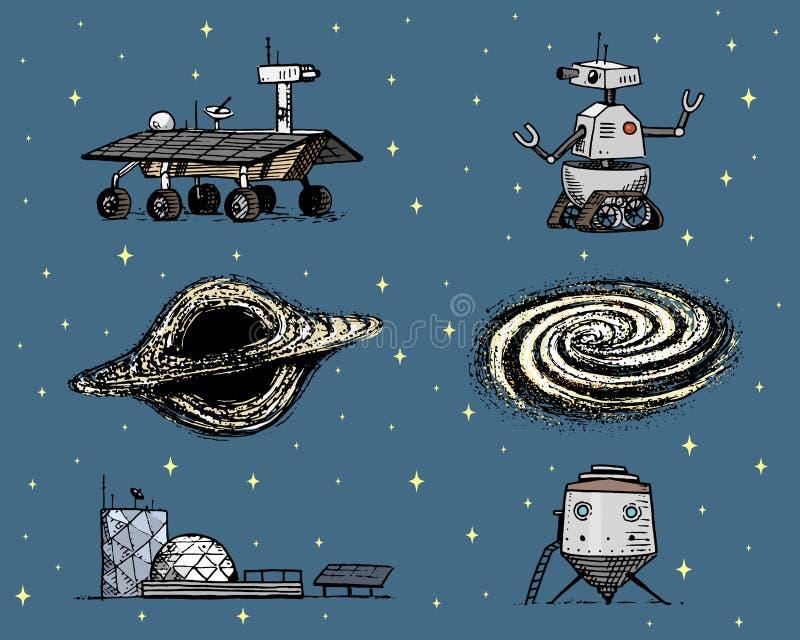 Rymdfärjan, det svarta hålet och galaxen, robot och fördärvar, den mån- roveren, moonwalker och kolonin, astronaututforskning royaltyfri illustrationer