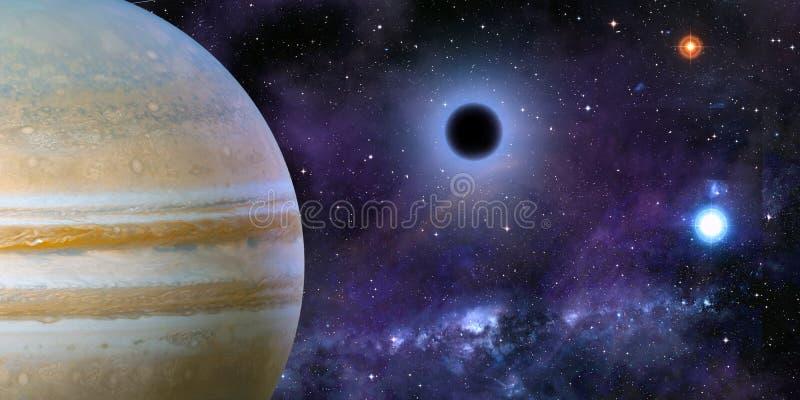 Rymdkosmiskt landskap nära svart hål, nebula och stjärnor vektor illustrationer