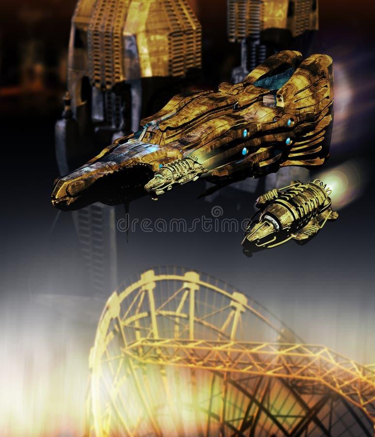 Rymdskepp över staden vektor illustrationer