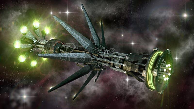 Rymdskepp i interstellärt lopp stock illustrationer