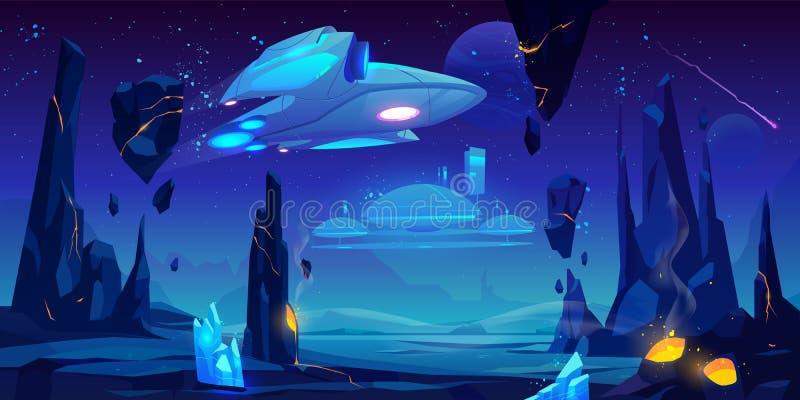 Rymdskepp interstellär station på den främmande planeten stock illustrationer