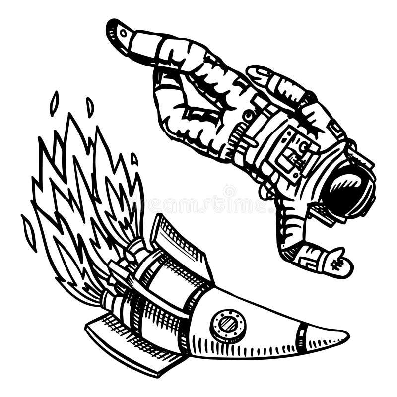 Rymdskepp och astronaut, astronomi i tappningstil Utrymme och kosmonaut, raket och astronaut Hand som dras i retro stock illustrationer