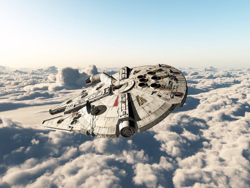 Rymdskepp ovanför molnen royaltyfri illustrationer