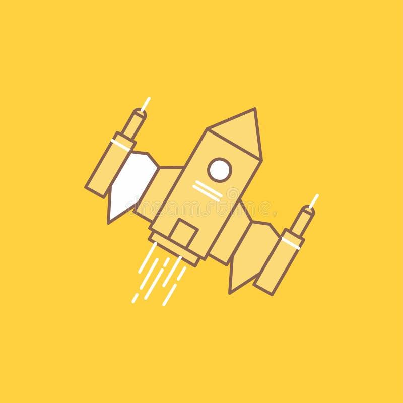 rymdskeppet rymdskeppet, skeppet, utrymme, den främmande plana linjen fyllde symbolen H?rlig logoknapp ?ver gul bakgrund f?r UI o royaltyfri illustrationer