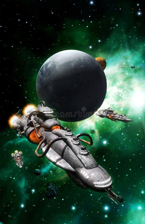 Rymdskeppflotta och måne stock illustrationer