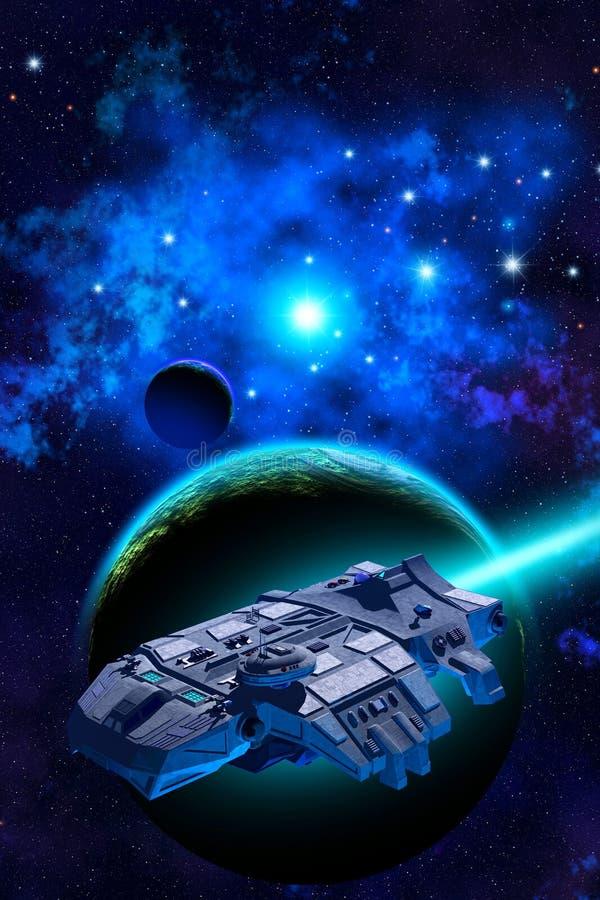 Rymdskeppflyg nära en blå planet med atmosfär och en måne, i bakgrunden en nebulosa med ljusa stjärnor, illustration 3d stock illustrationer