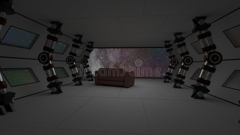 Rymdskeppinre med kopplar av soffasikt på utrymme och avlägsen illustration för planetsystem 3D stock illustrationer