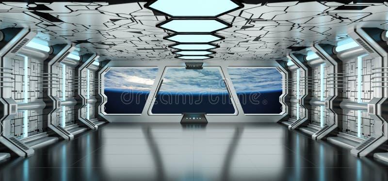 Rymdskeppinre med sikt på planetjorden 3D som framför el vektor illustrationer