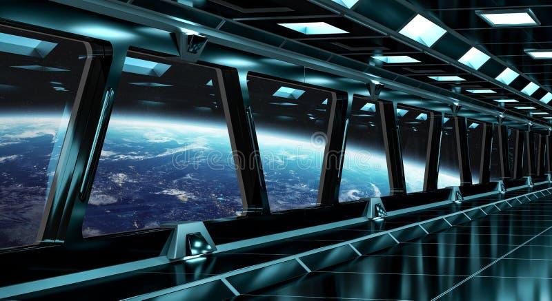 Rymdskeppkorridor med sikt på planetjorden 3D som framför el vektor illustrationer
