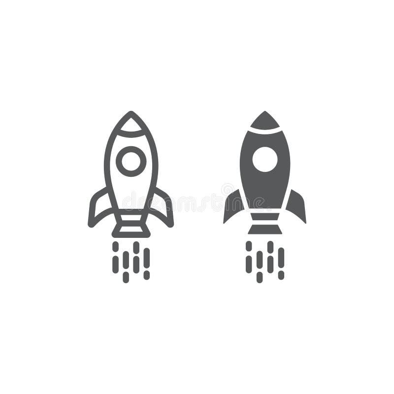 Rymdskepplinje och skårasymbol, anslutning och kosmos, rakettecken, vektordiagram, en linjär modell på en vit bakgrund vektor illustrationer