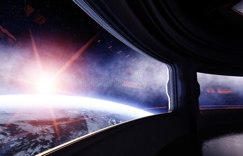 Rymdskepprum, korridor Futuristisk sikt av jorden framförande 3d vektor illustrationer
