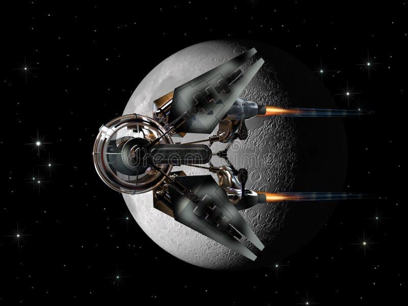 Rymdskeppsurr som passerar månen stock illustrationer