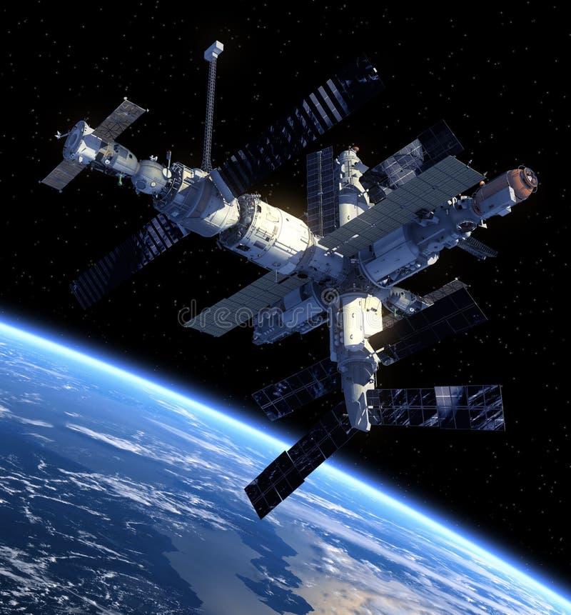 Rymdstation och rymdskepp. stock illustrationer