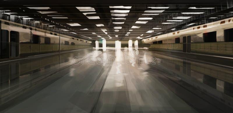 Rymlig ensam illustration för gångtunnelstation arkivfoto