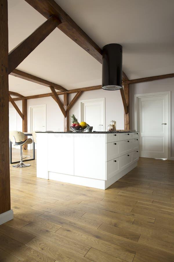 Rymligt öppet utrymme med kök fotografering för bildbyråer