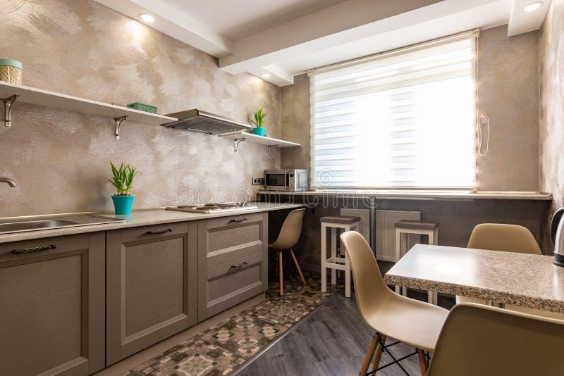 Rymligt kök i ett lägenhethöghus royaltyfri bild