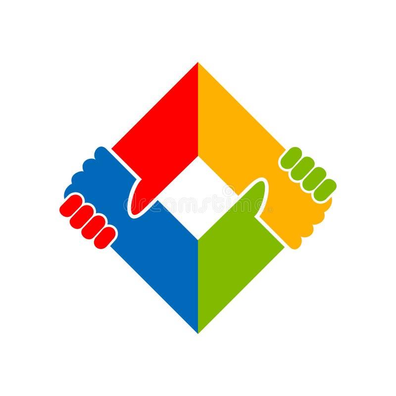 Rymma design för symbol för aktion för handenhet social stock illustrationer