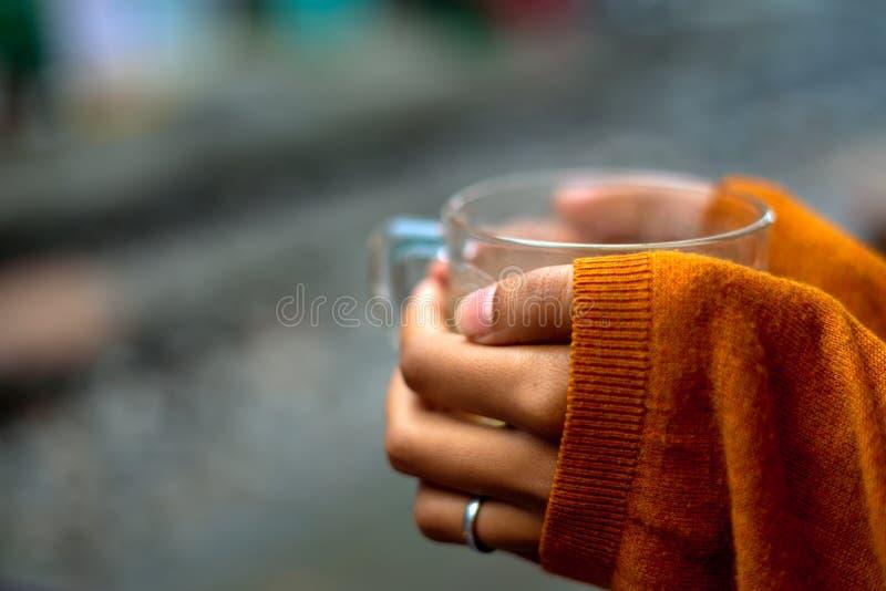 Rymma en kopp te av st?ngsweatern som t?cker h?nder vid halva royaltyfria foton