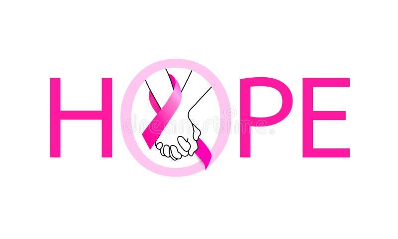 Rymma händer med det rosa bandet i hopp royaltyfri illustrationer