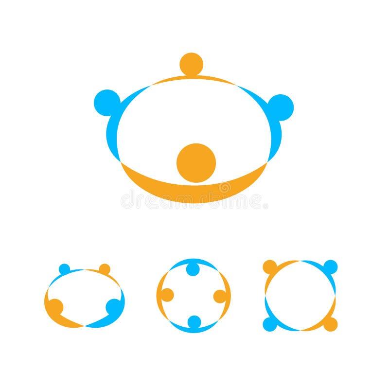 Rymma räcker logomallen, folkgemenskaptecknet, portionhänder symbolen, för vektoremblem för folk facklig uppsättning stock illustrationer