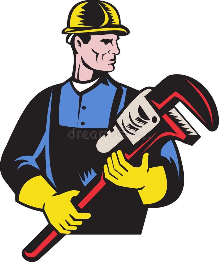 rymma skiftnyckeln för aparörmokarerepairman royaltyfri illustrationer
