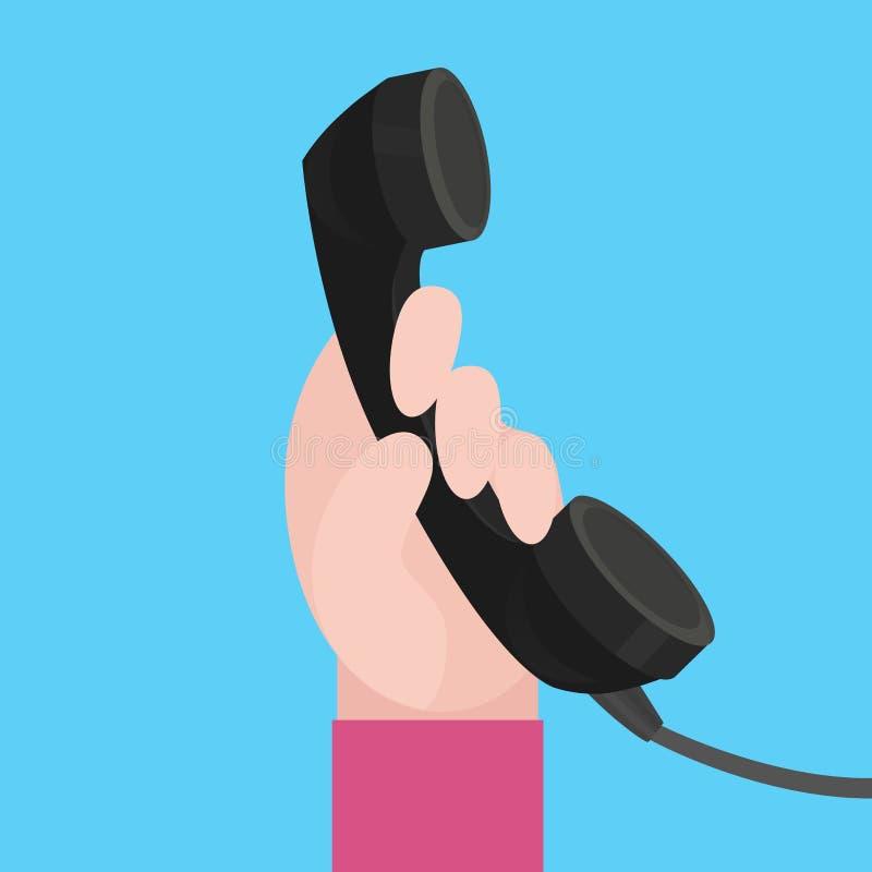 Rymmer den plana illustrationen för vektorn av mänskliga händer telefonluren royaltyfri illustrationer