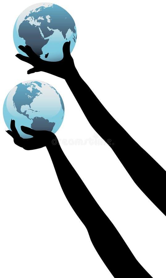 rymmer globala händer för jord personen upp världen vektor illustrationer