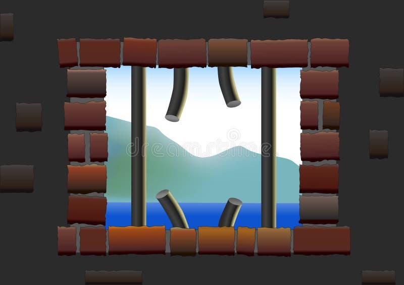 Rymning från fängelsesikt vektor illustrationer