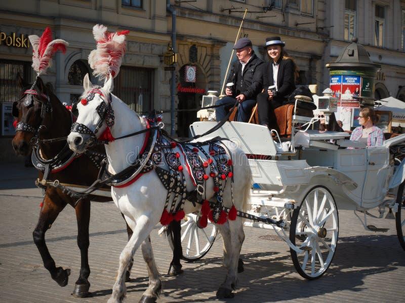 Rynek Główny är den huvudsakliga fyrkanten i Krakow - Polen fotografering för bildbyråer