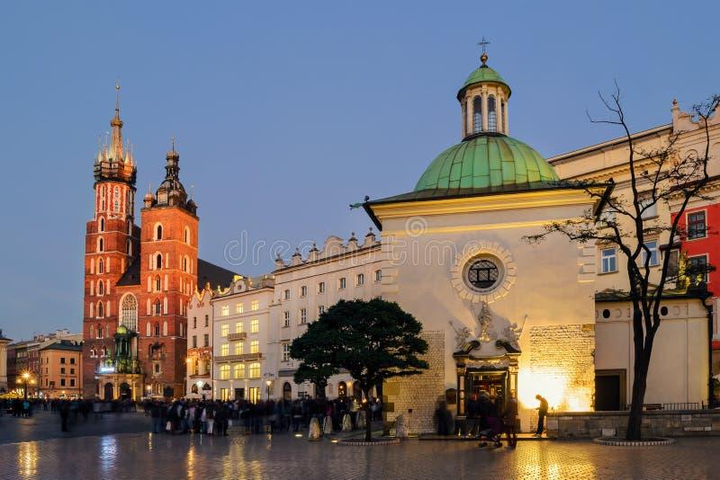 Rynek Glowny - The main square of Krakow royalty free stock images