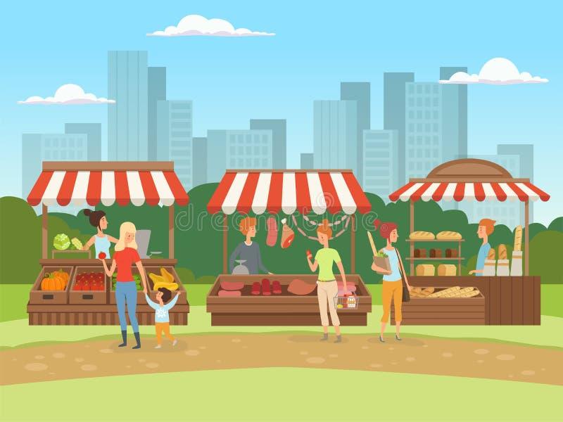 rynek lokalny Karmowi plenerowi miejsca w miastowych krajobrazowych bazarów właścicielach z owoc warzywami mięsa i mleko wektoru  ilustracja wektor