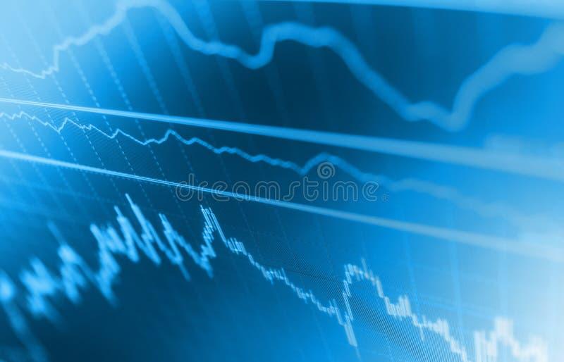 Rynek lub handlarski wykres candlestick i sporządzamy mapę stosownego dla pieniężnej inwestyci pojęcia Płytki DOF ilustracja wektor