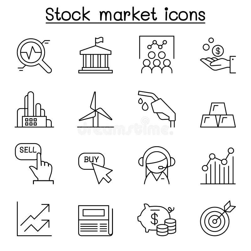 Rynek Papierów Wartościowych, giełda papierów wartościowych, Akcyjna pieniądze ikona ustawiająca w cienkiej linii ilustracji
