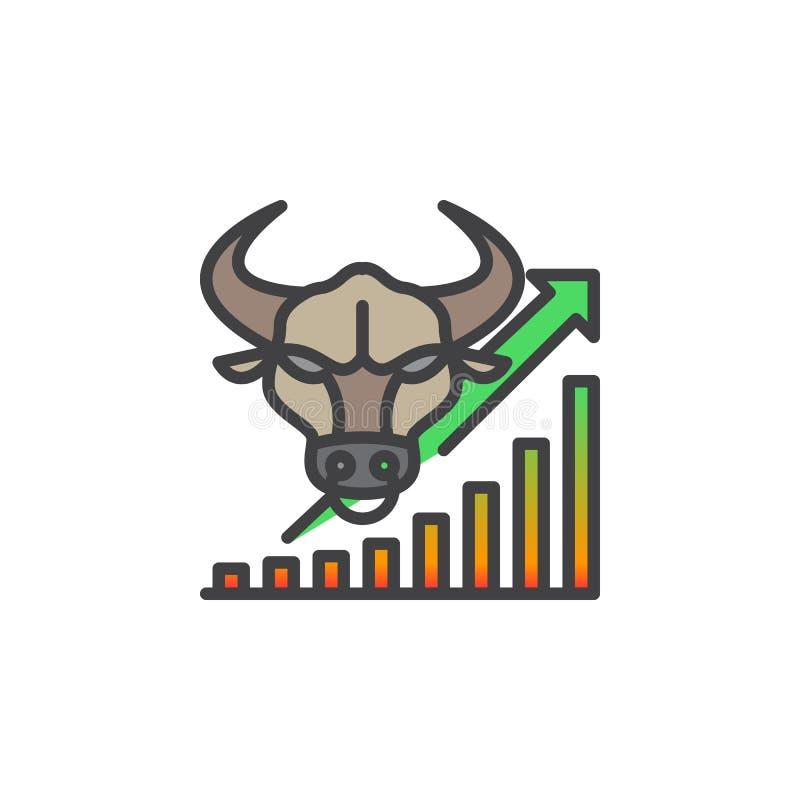 Rynek Papierów Wartościowych kreskowa ikona iść up, wypełniający konturu wektoru znak, liniowy kolorowy piktogram odizolowywający ilustracji