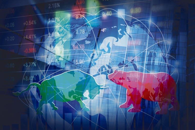 Rynek Papierów Wartościowych tła pojęcia projekt byk i niedźwiedź z globalną siecią zdjęcia royalty free