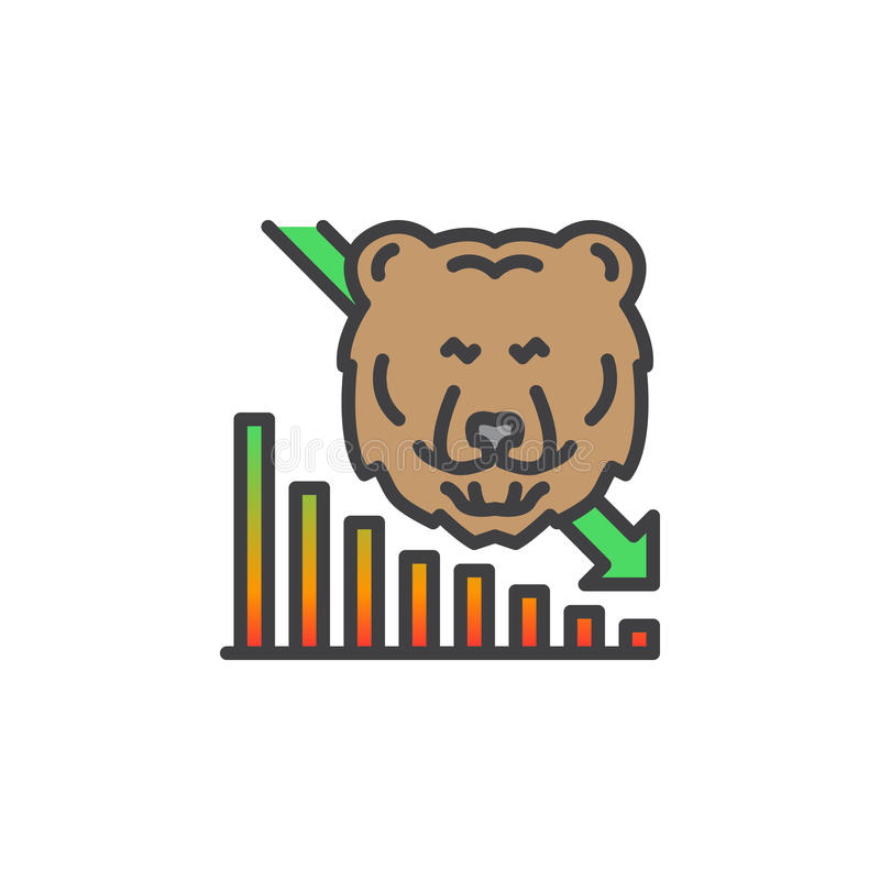 Rynek Papierów Wartościowych w dół kreskowa ikona iść, wypełniający konturu wektoru znak, liniowy kolorowy piktogram odizolowywaj ilustracja wektor